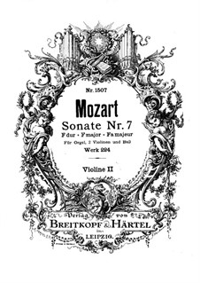 Church Sonata for Two Violins, Organ and Basso Continuo No.7 in F Major, K.224 (K.241a): Violin II part by Wolfgang Amadeus Mozart