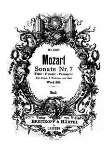 Church Sonata for Two Violins, Organ and Basso Continuo No.7 in F Major, K.224 (K.241a): Basso continuo part by Wolfgang Amadeus Mozart
