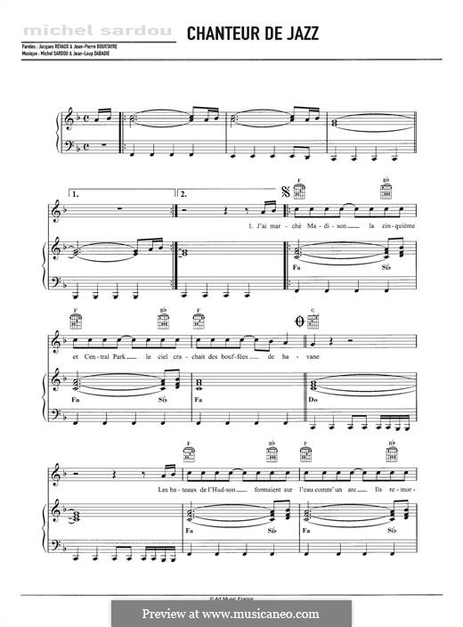 Chanteur de Jazz: For voice and piano by Jean-Loup Dabadie, Michel Sardou