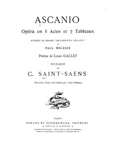 Ascanio: Piano score by Camille Saint-Saëns