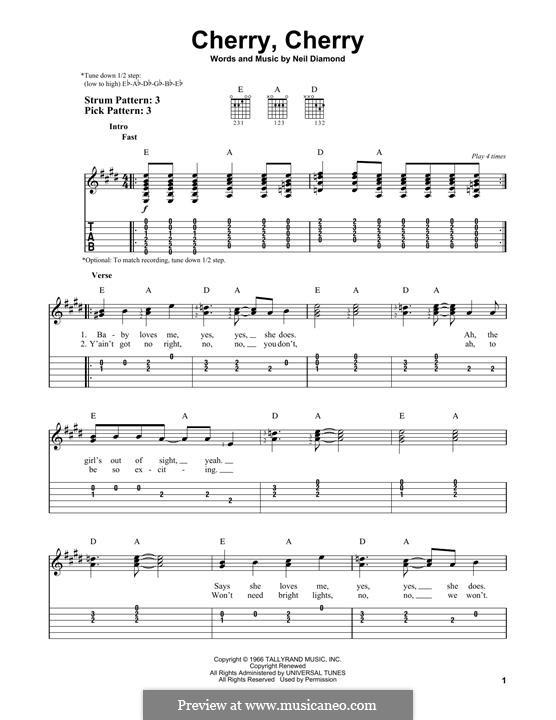 Cherry, Cherry: For guitar by Neil Diamond