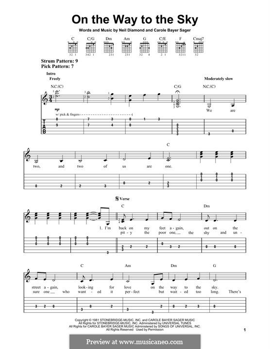 On the Way to the Sky: For guitar by Neil Diamond
