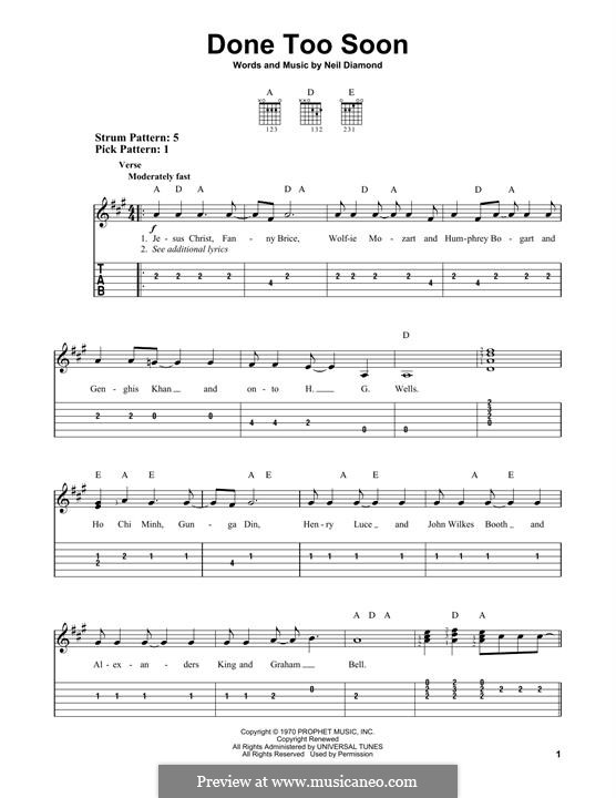 Done Too Soon: For guitar by Neil Diamond