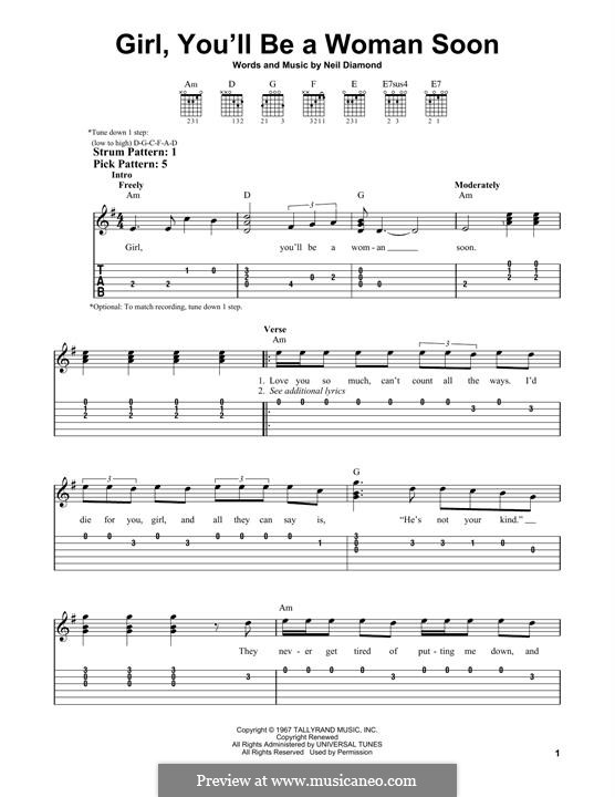 Girl, You'll Be a Woman Soon: For guitar by Neil Diamond