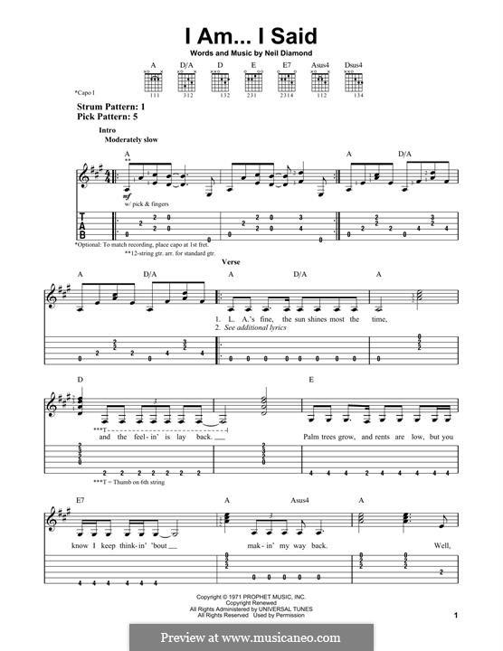 I Am...I Said: For guitar by Neil Diamond