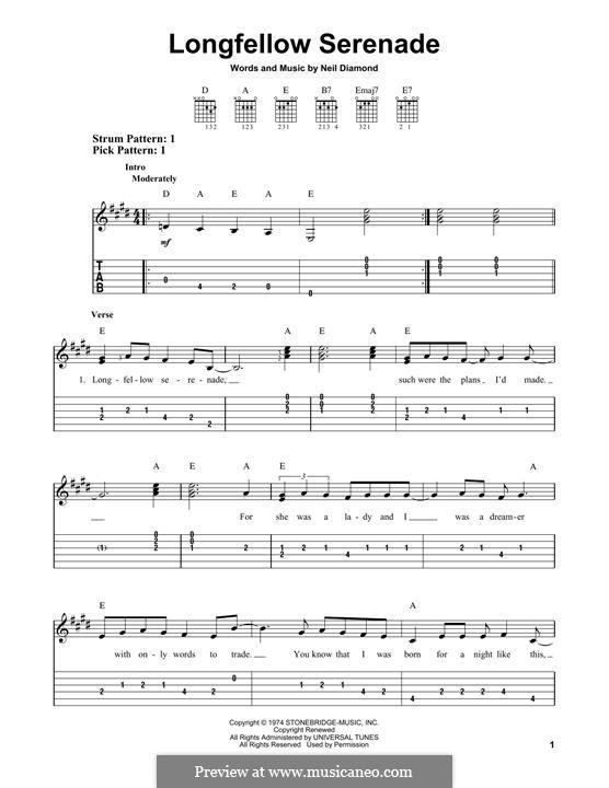 Longfellow Serenade: For guitar by Neil Diamond
