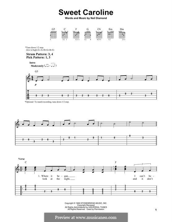Sweet Caroline: For guitar by Neil Diamond