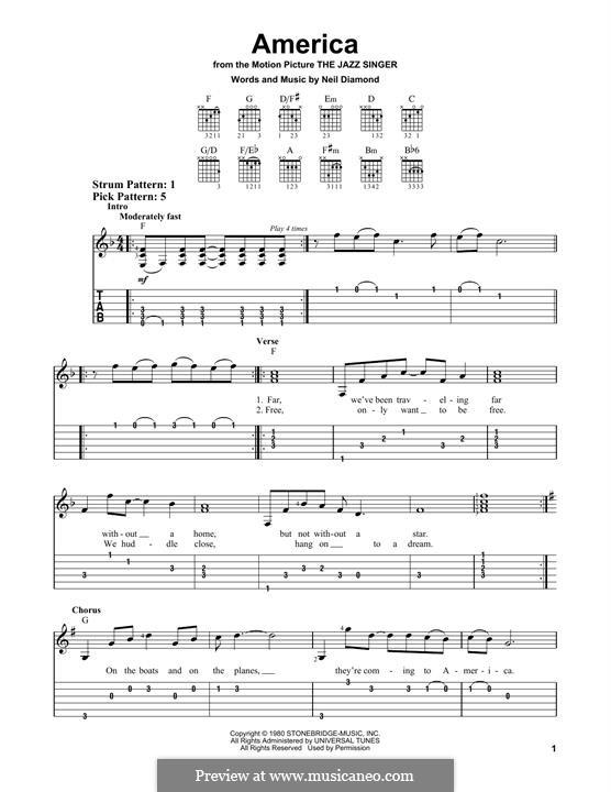 America: For guitar by Neil Diamond