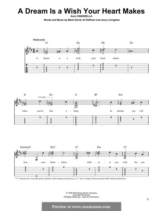 A Dream Is a Wish Your Heart Makes (from Disney's Cinderella): For guitar by Al Hoffman, Jerry Livingston, Mack David