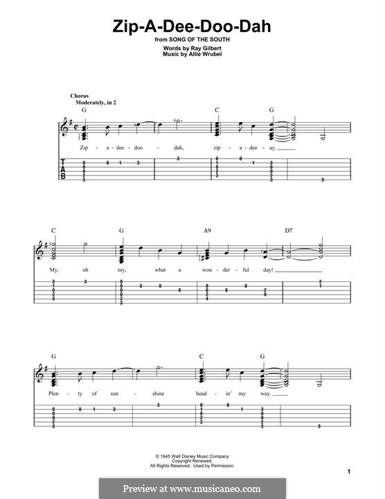 Zip-A-Dee-Doo-Dah: For guitar with tab by Allie Wrubel