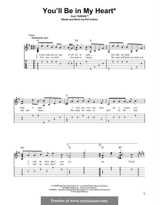 You'll Be in My Heart (from Walt Disney's Tarzan): For guitar by Phil Collins