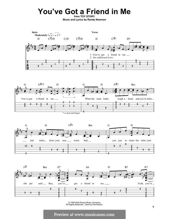 You've Got a Friend in Me (from Disney's Toy Story): For guitar by Randy Newman