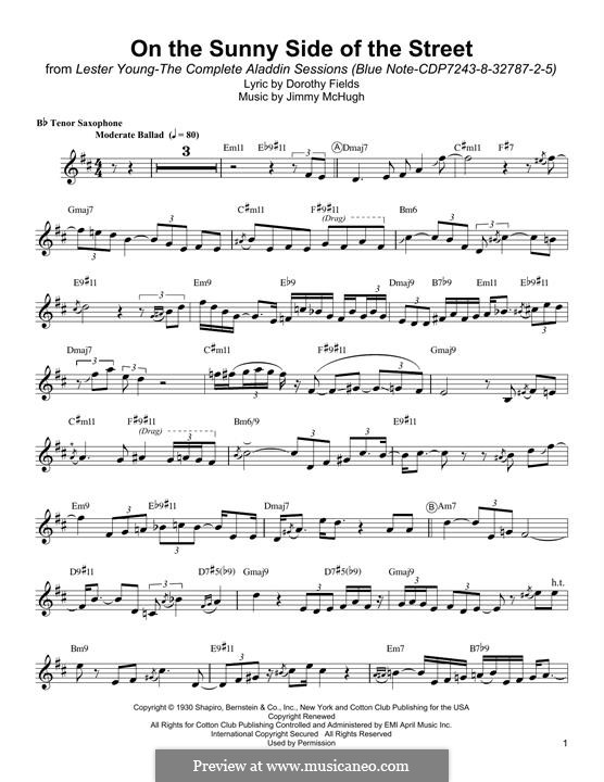 On the Sunny Side of the Street: For tenor saxophone by Jimmy McHugh