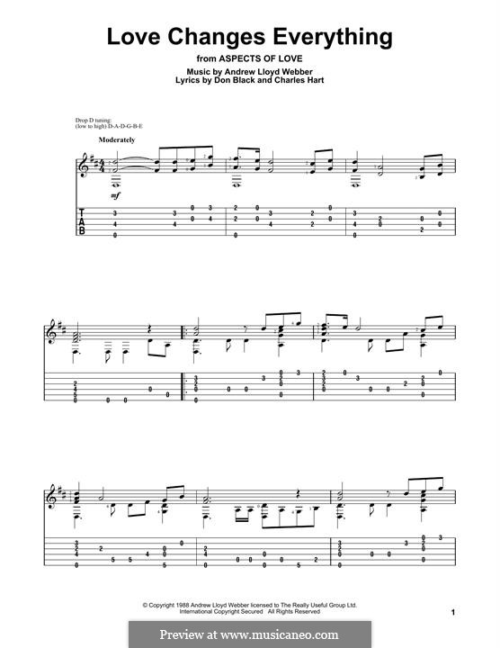 Love Changes Everything: For guitar with tab by Andrew Lloyd Webber