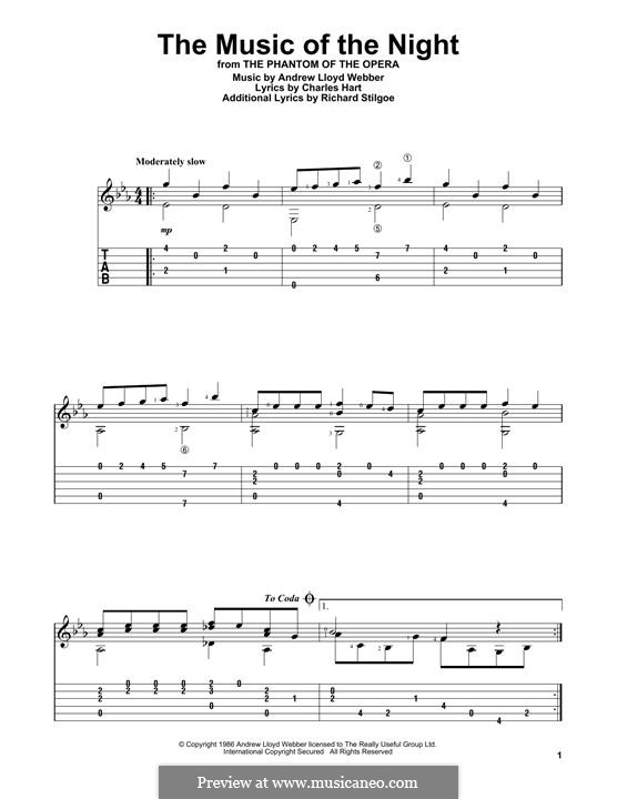 The Music of the Night: For guitar with tab by Andrew Lloyd Webber