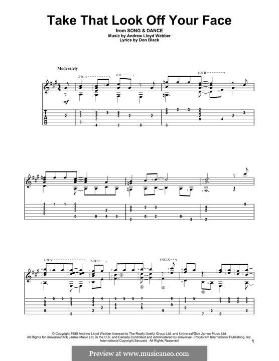 Take That Look Off Your Face: For guitar with tab by Andrew Lloyd Webber
