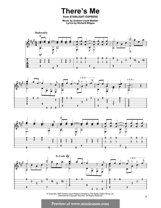 There's Me: For guitar with tab by Andrew Lloyd Webber