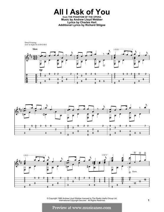All I Ask of You: For guitar with tab by Andrew Lloyd Webber
