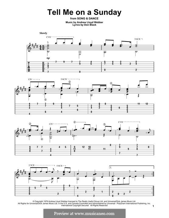Tell Me on a Sunday: For guitar with tab by Andrew Lloyd Webber