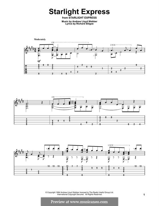 Starlight Express: For guitar with tab by Andrew Lloyd Webber
