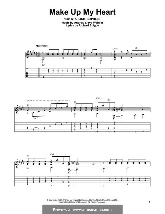 Make Up My Heart: For guitar with tab by Andrew Lloyd Webber