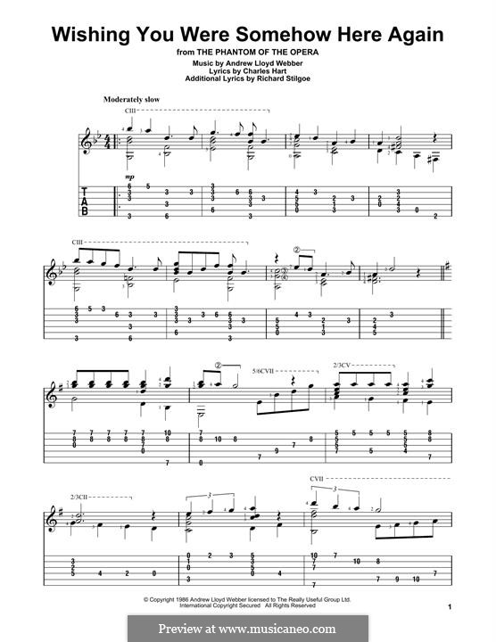 Wishing You Were Somehow Here Again: For guitar with tab by Andrew Lloyd Webber