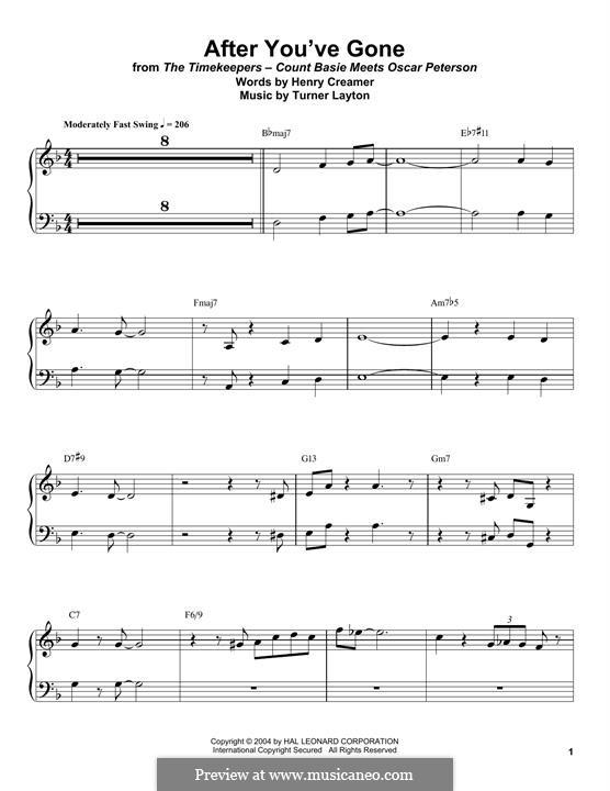 After You've Gone (Sophie Tucker): For piano by Henry Creamer, J. Turner Layton