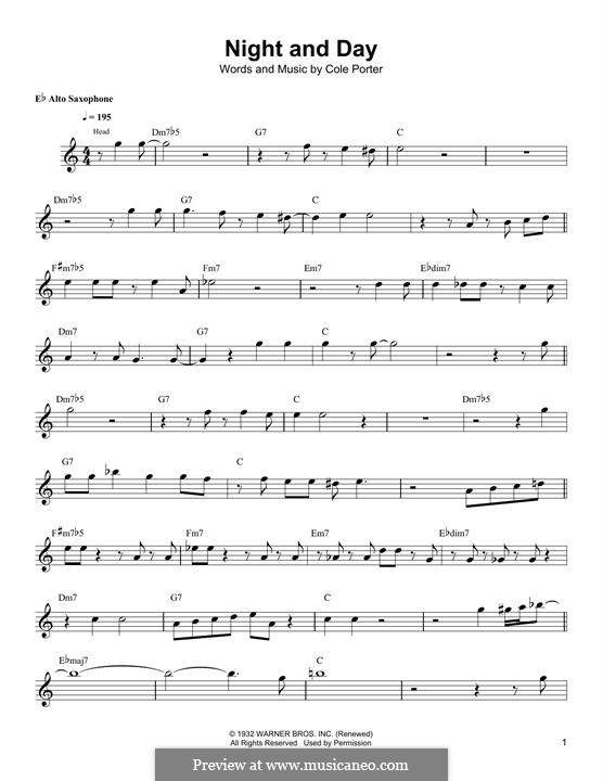 Night and Day (Frank Sinatra): For alto saxophone by Cole Porter