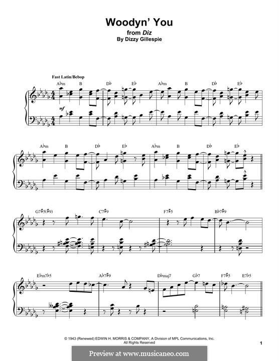 Woodyn' You: For piano by Dizzy Gillespie
