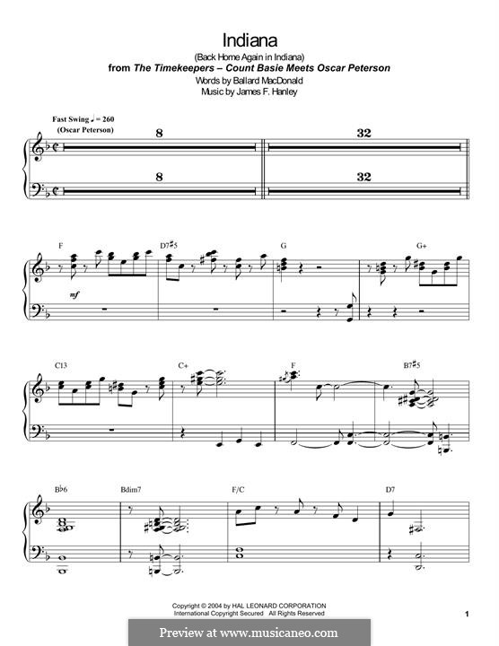 Indiana (Back Home Again in Indiana): For piano by James Frederick Hanley