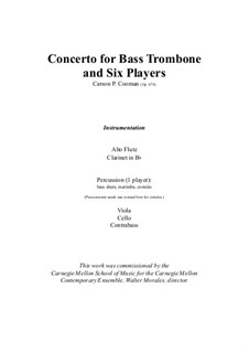 Concerto for bass trombone and six players – score and parts, Op.678: Concerto for bass trombone and six players – score and parts by Carson Cooman