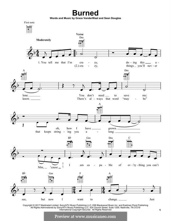 Burned: For ukulele by Sean Douglas, Grace VanderWaal
