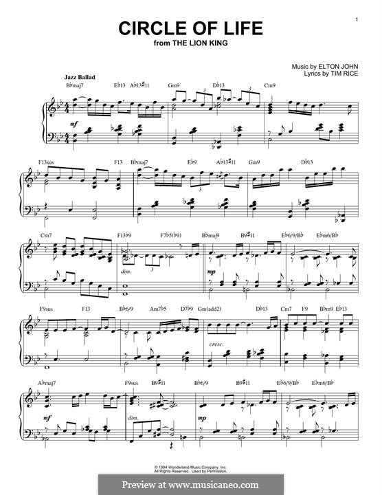 Circle of Life (from The Lion King), instrumental version: For piano by Elton John