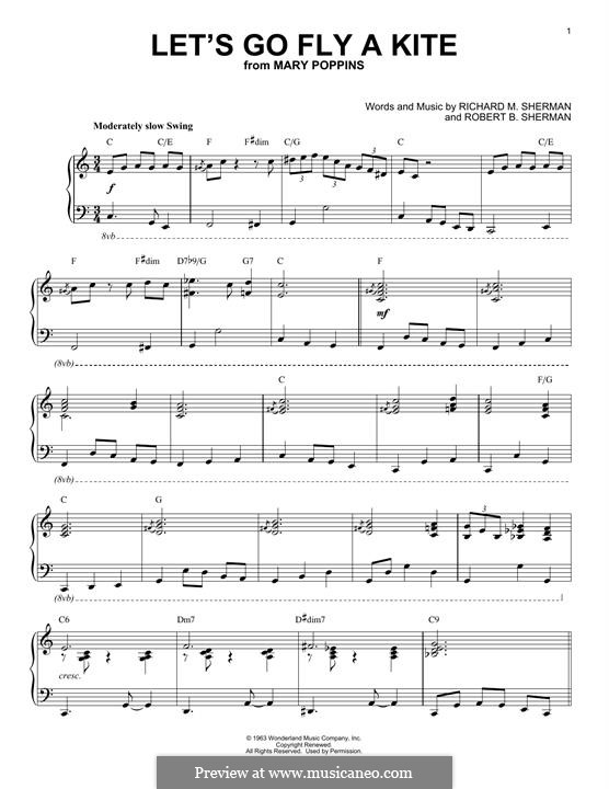 Let's Go Fly a Kite: For piano by Richard M. Sherman, Robert B. Sherman