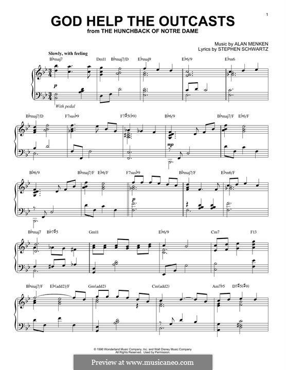 God Help the Outcasts (from The Hunchback of Notre Dame): For piano by Alan Menken