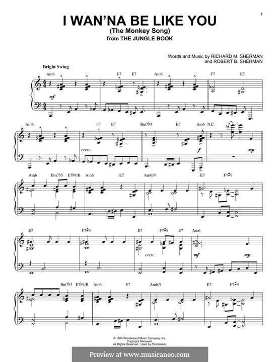 I Wanna Be Like You (The Monkey Song): For piano by Richard M. Sherman, Robert B. Sherman