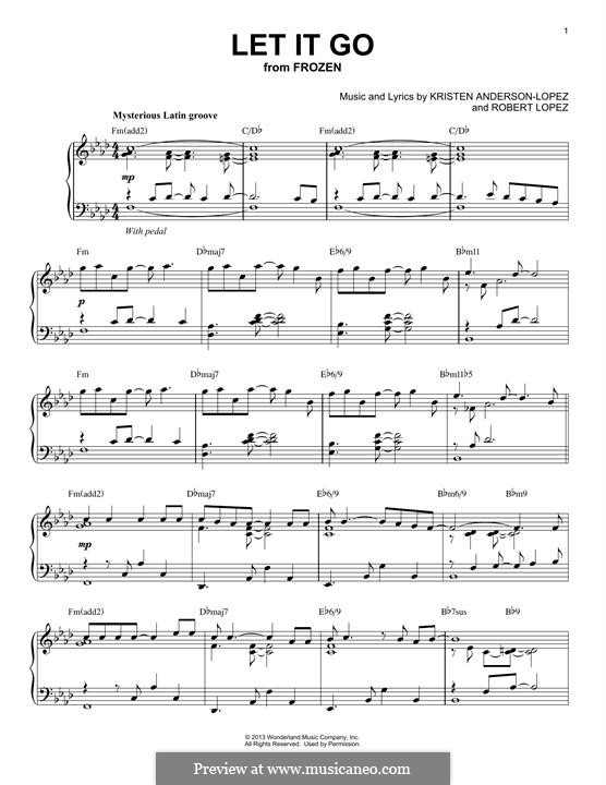 Let It Go (from Frozen): For piano by Robert Lopez, Kristen Anderson-Lopez