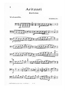 Aritzari for Strings and Piano: Cello part by Dámaso Zabalza