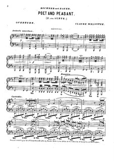 Overture to 'Poet and Peasant': For piano four hands by Franz von Suppé