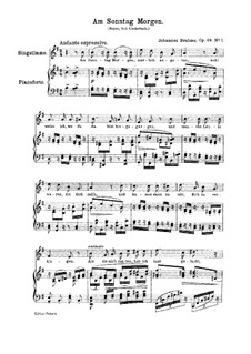 No.1 On Sunday Morning: For piano by Johannes Brahms