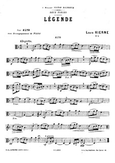 Two Pieces for Viola and Piano, Op.5: No.2 Légende – solo part by Louis Vierne