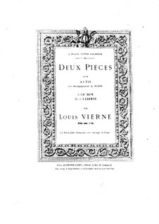 Two Pieces for Viola and Piano, Op.5: No.1 Le soir by Louis Vierne