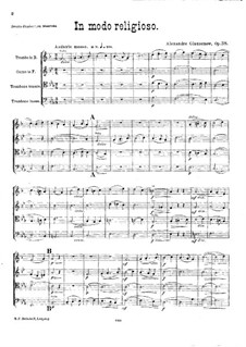 In Modo Religioso. Quartet for Brass Instruments, Op.38: Full score by Alexander Glazunov