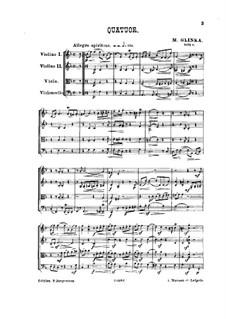 String Quartet in F Major: Full score by Mikhail Glinka