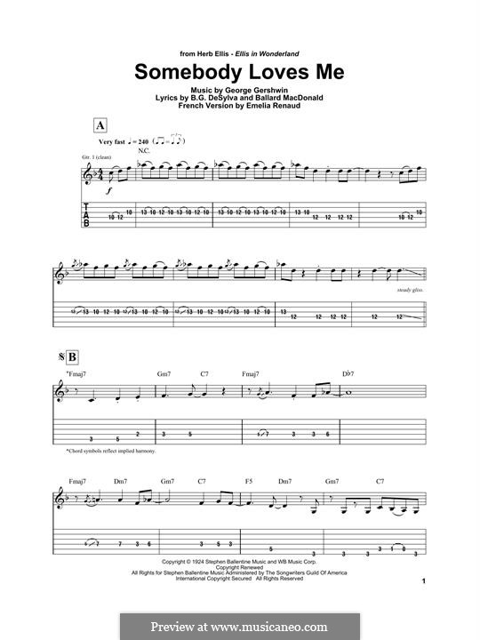 Somebody Loves Me: For electric guitar by George Gershwin