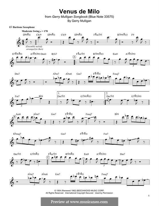 Venus de Milo: For baritone saxophone by Gerry Mulligan