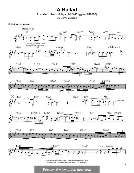 A Ballad: For baritone saxophone by Gerry Mulligan