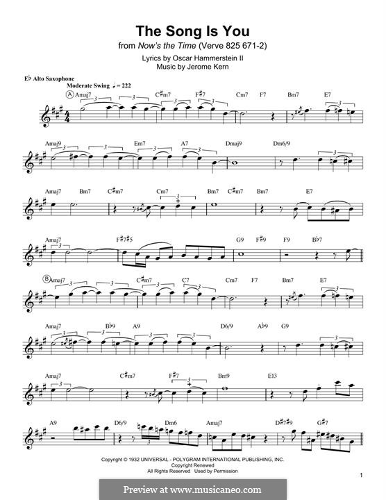 The Song is You: For alto saxophone by Jerome Kern