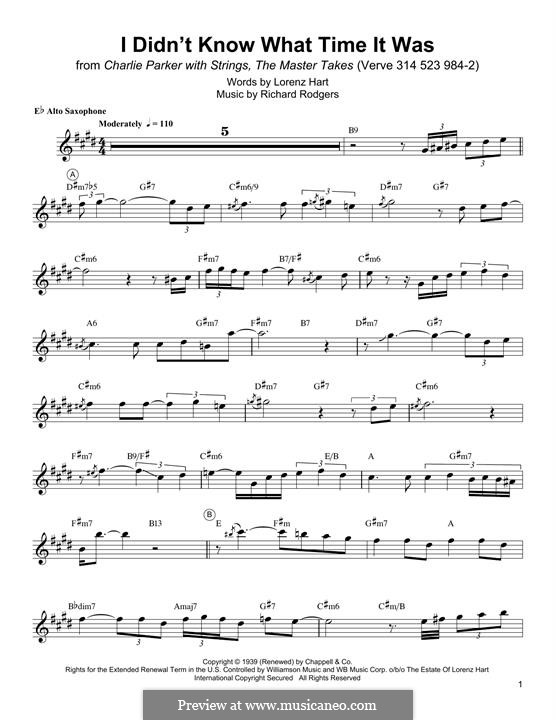 I didn't Know What Time it Was: For alto saxophone by Richard Rodgers