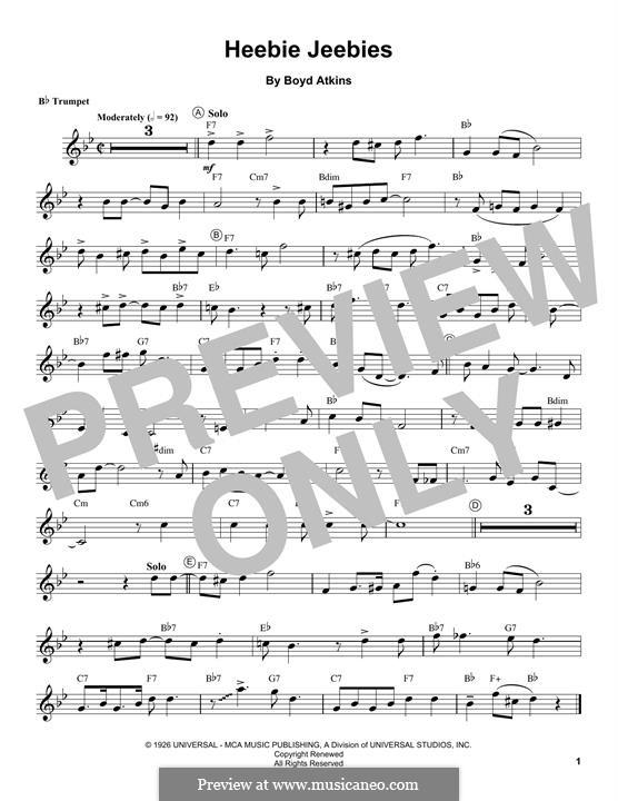 Heebie Jeebies (Louis Armstrong): For trumpet by Boyd Atkins